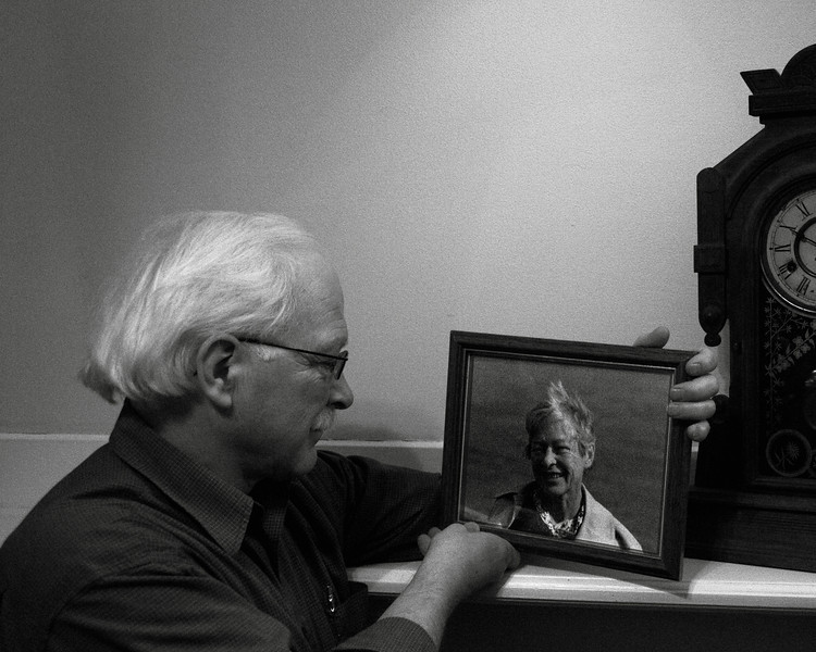 Don Donohoe and a picture of his Mother Nancy who died of cancer on December 1978, one day short of a year after her husband died of a heart attack.