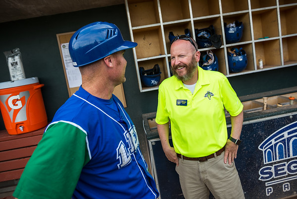 Lexington Legends manager Brooks Conrad talks to John Katz before the game on June 13, 2019 at Segra Park. John A. Carlos II / Special to The Free Times