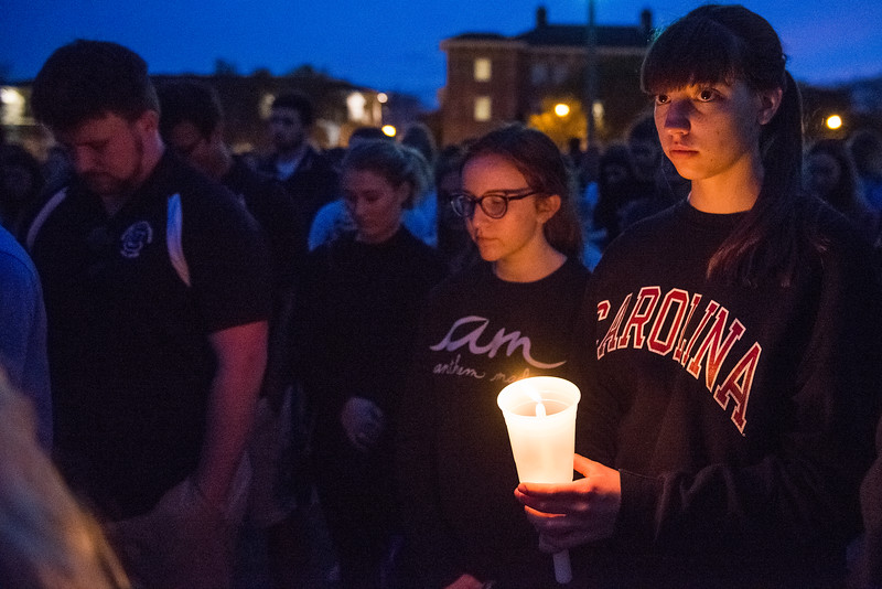 University of South Carolina Students mourn the loss of fellow student, Samantha Josephson at a candle light vigil on March 31, 2019. John A. Carlos II / Special to The Post and Courier