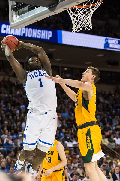 Duke forward Zion Williams goes up for  a dunk on NDSU forward Rocky Kreuser during the 1st round of the 2019 NCAA Men's Basketball Tournament at The Colonial Life Arena, in Columbia on March 22, 2019. John A. Carlos II / Special to The Free Times