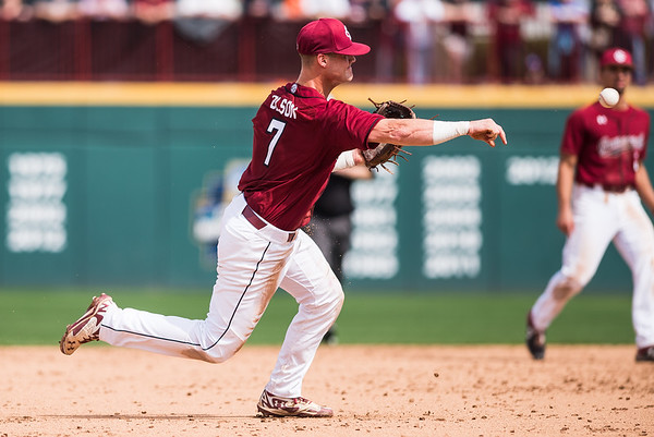 South Carolina third baseman Jacob Olson makes a play during a game against Clemson at Founders Park, in Columbia on March 3, 2019. John A. Carlos II / Special to The Post and Courier