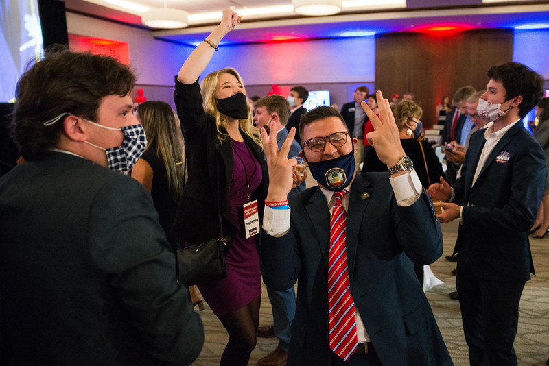 People celebrate Lindsey Graham being announced as the projected winner at the S.C. Republican Party election night watch party held at UofSC Pastides Alumni Center in Columbia, SC, on Tuesday, Nov. 3. John A. Carlos II / Special to The Post and Courier