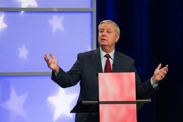 U.S. Sen. Lindsey Graham, R-S.C., and Democratic challenger Jaime Harrison, participate in a debate at the S.C. ETV studios in Columbia,S.C., Friday October 30, 2020. John A. Carlos II/Special to The Post and Courier