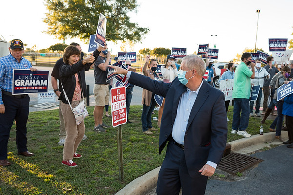 U.S. Sen. Lindsey Graham, R-S.C., greets supporters gathered outside of SCETV Studios the site of a debate between Graham and his democratic challenger Jamie Harrison on Friday October 30, 2020. John A. Carlos II/Special to The Post and Courier