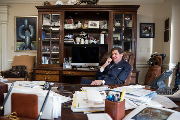 Columbia developer Bill Stern talks on the phone in his office at Stern Development in Columbia on Nov. 5. John A. Carlos II/Special to the Post and Courier