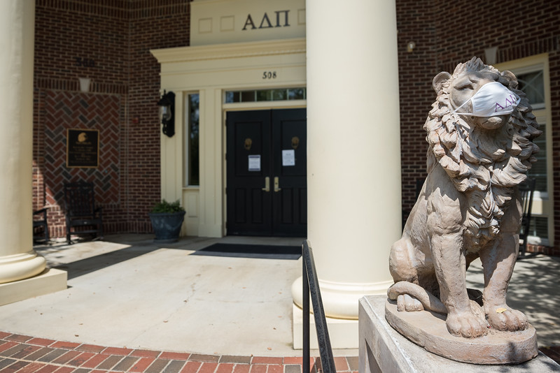 A lion wears a mask outside the Alpha Delta Pi house on The University of South Carolina's Greek Village on September 2, 2020. John A. Carlos II / Special to The Post and Courier  at , in  on September 2, 2020. John A. Carlos II / Special to The Post and Courier