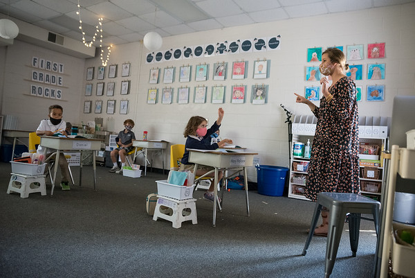 Catherine Barnhill teaches a class of first graders at Heathwood Hall on Oct. 2, 2020. John A. Carlos II / Special to The Post and Courier