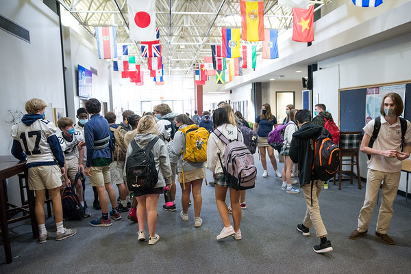 Upper School students change classes at Heathwood Hall on Oct. 2, 2020. John A. Carlos II / Special to The Post and Courier