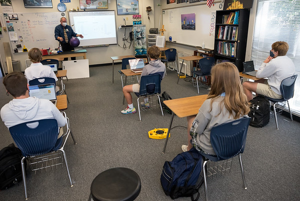 Tim McKnight, teachers physics to a class of ninth graders at Heathwood Hall on Oct. 2, 2020. John A. Carlos II / Special to The Post and Courier
