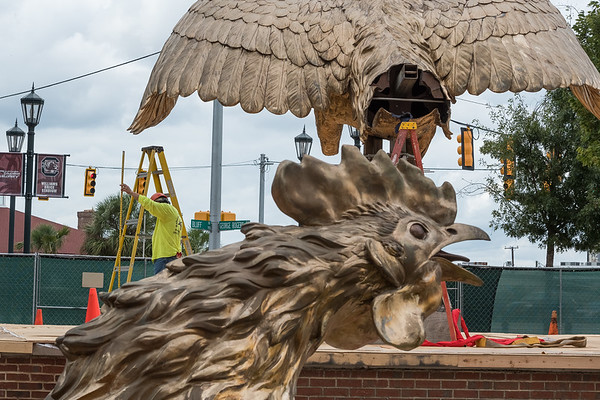 Workers install a new massive gamecock sculpture created by Jon Hair outside Williams-Brice Stadium in center of the Lloyd Family Courtyard on Sept. 10, 2020. John A. Carlos II / Special to The Post and Courier