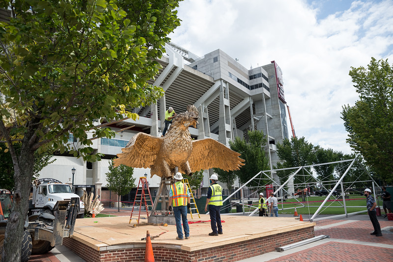Christopher Cameron, of D and T Steel stands atop of an 800 square-foot gamecock sculpture outside of Williams-Brice Stadium in center of the Lloyd Family Courtyard, on Sept. 10, 2020. John A. Carlos II / Special to The Post and Courier
