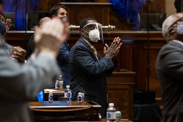 State Rep. Jerry Govan, D-Orangeburg claps for a guest during Gov. Henry McMaster State of the State address at the Statehouse in Columbia on Wednesday, Jan. 13. John A. Carlos II/Special to The Post and Courier