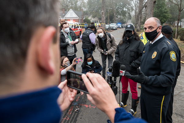 Columbia Police Chief Skip Holbrook talks to members of the media gathered near the site of an airplane crashed which  crashed into a house on Kennedy Street in the Rosewood neighborhood on Wednesday, Jan. 13. John A. Carlos II / Special to The Post and Courier