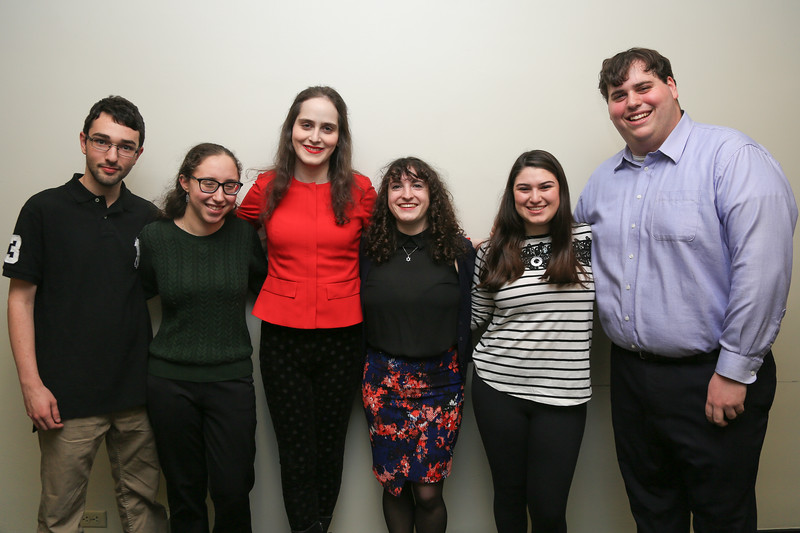 Abby Stein poses with executive board members of Kehila Conservative Jewish Student Group.<br /> February 22, 2018