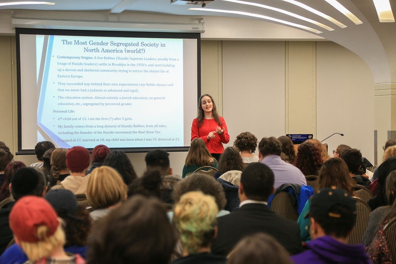 Abby Stein presents to students at the University at Albany.<br /> February 22, 2018