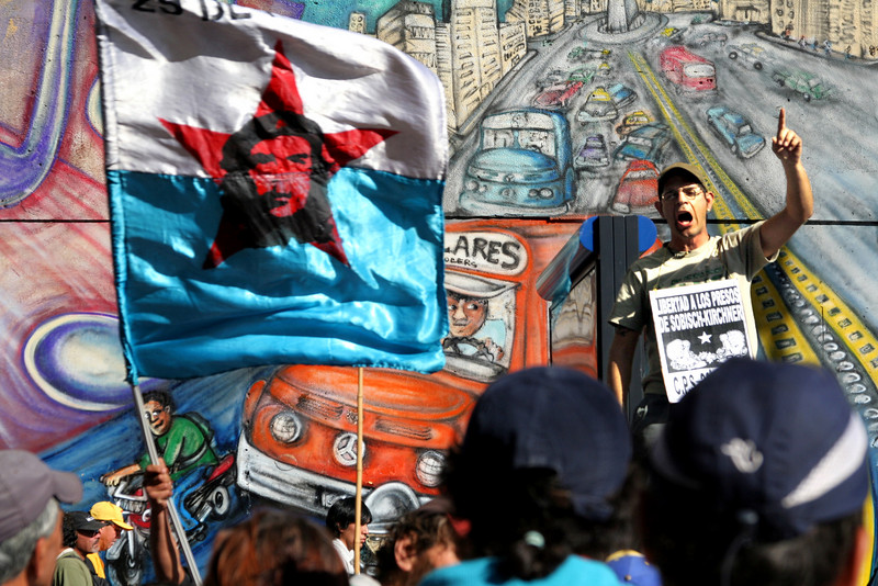 During a national day of protest in Buenos Aires Argentina a man passionately speaks against police brutality and state imperialism.  The National Day of Protest brought over a half-million people into the streets inspired by the police killing of a science teacher two days prior in the northern provinces.