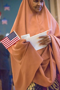 Khaira Khalif Ahmed, resident of Greeley and native of Somalia, was granted citizenship during a United States Naturalization Ceremony at Dunn Elementary School in Fort Collins on Friday, February 3, 2017.