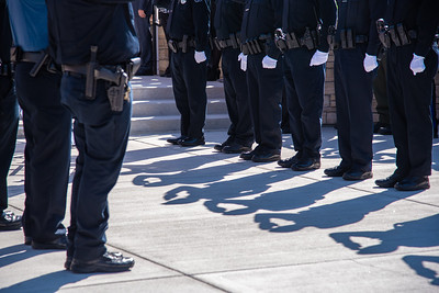 Fellow officers line the sidewalk outside of Rez.Church in Loveland, following  a celebration of life service for Johnstown Police Department officer Yuri Thomas on Monday, September 24, 2018.