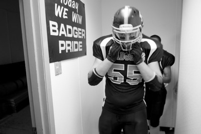James Shelton, Center for the Buckholts Badgers, heads out of the locker room before their September 25, 2010 Homecoming Game vs. the Evant Elks.  Buckholts won 64-14 in a game ended in the fourth quarter because of the 45 point six-man football mercy rule.