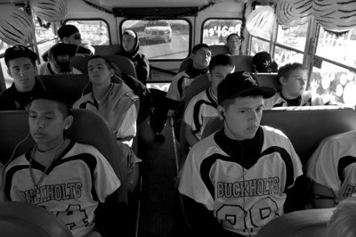 The Buckholts Badgers six-man football team on their way to their final regular season game against division rival, Calvert, on November 5, 2010.