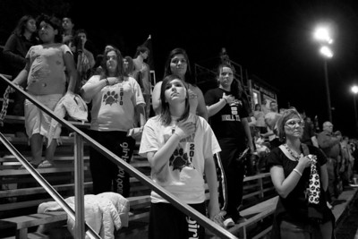 Buckholts Badgers fans stand for the National Anthem at the October 22, 2010 game against Oglesby.  Buckholts won 70-0 after the game was called at halftime due to the 45 point six-man football mercy rule.