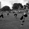 The Buckholts Badgers six-man football team runs through warm-up drills before their September 25, 2010 game vs. the Evant Elks.  Buckholts won 64-14 in a game ended in the fourth quarter because of the six-man football mercy rule.