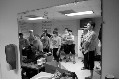 The team meets in the to review plays before their homecoming game vs. the Evant Elks on September 25, 2010.