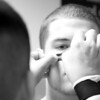 September 25, 2010 - Senior Center James Shelton gets help applying his eye black before the Buckholts Badgers Home Homecoming Game vs. the Evant Elks.  Buckholts won 64-14 in a game ended in the fourth quarter because of the six-man mercy rule.