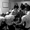 The the team prays in the locker room before their October 8, 2010 game vs. the Cranfills Gap Lions.  Buckholts won 65-20 in a game ended in the fourth quarter because of the 45 point six-man football mercy rule.