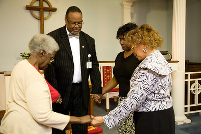 Quick prayer session in the chapel. Bernice J. Miller, Chaplain Burns, Linda Mendinghall, Denise D. Cathey