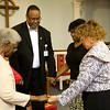 Quick prayer session in the chapel.<br /> Bernice J. Miller, Chaplain Burns, Linda Mendinghall, Denise D. Cathey