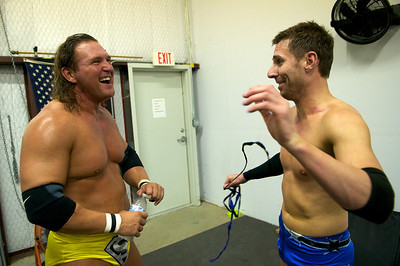 Storm (left) and Angel (right) laugh together as they talk about their match and the final takedown that gave Angel the win.