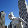 October 23, 2009 - Skyscrapers overlook a statue on the rooftop pool deck of the Le Pavillon Hotel in downtown New Orleans.
