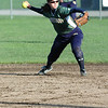 For the Enterprise/John Kossik<br /> Second baseman Christina Jarvis of Shorecrest prepares to through out runner in their second game in the District 1 3A Fastpitch Tournament game against Mount Vernon