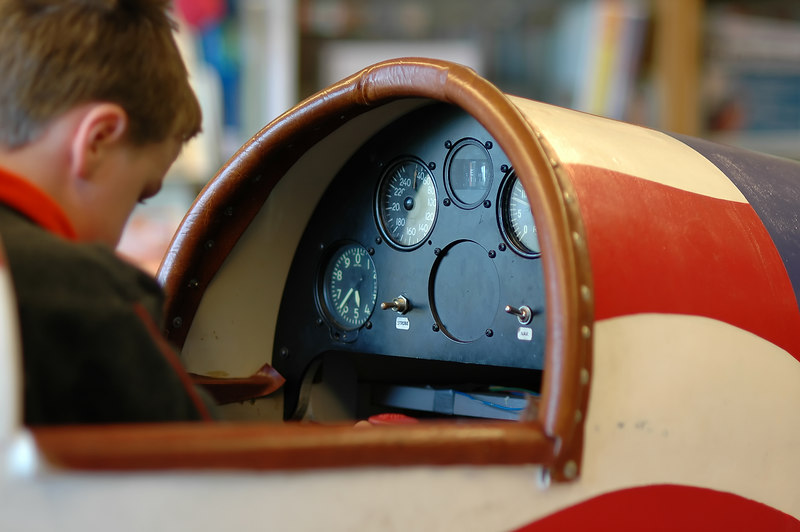 For the Enterprise/John Kossik<br /> Zachary Holly tries out the flight simulator at the Museum of Flight's Jet  Age Workshop at Mill Creek Library.