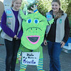 For the Enterprise/John Kossik<br /> Girl Scouts Emily Flick and Alyssa Larimer pose in front of Priscilla who is made out of trash at the Edmonds Coastal Clean Up Day