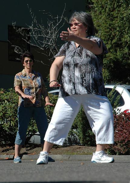 For the Enterprise/John Kossik<br /> Nancy Lucero demonstrates tai chi at Mill Creek Senior Center Birthday Party