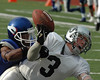 For the Enterprise/John Kossik<br /> Vikings defensive back Ty Williams breaks up a pass into the endzone to the raiders receiver Kenny Roberts
