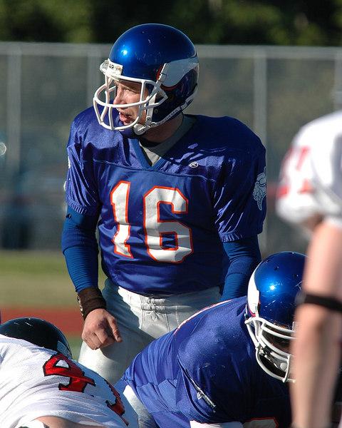 For the Enterprise/John Kossik<br /> Vikings quarterback John McCourt audibles prior to taking the snap