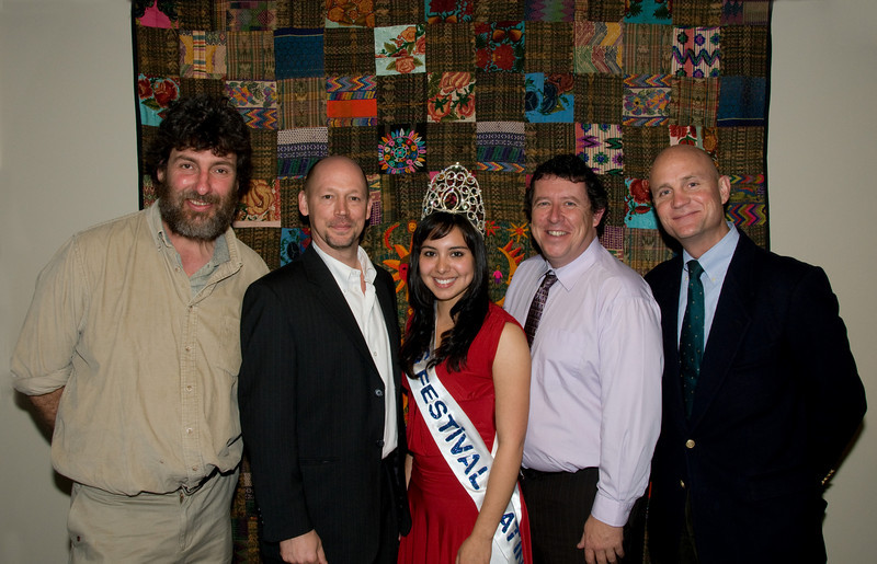 Tom Clarke Coordinator of the Guatemala Stove Project, James Benda,  Miss Guatemala and Miss Festival Latino Karin Donis, Regan Lee, and Guatemala Ambassador Georges de La Roche
