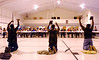 "7:35 a.m. -- Members of the Forward Memorial Soldiers for Christ perform a dramatic interpretation of Tonex's song,""Lord Make Me Over Again,"" Friday morning at Grace Bible Church, in Newton, during the Fellowship of Christian Athletes breakfast prior to the start of the school day.<br /> PHOTO/SCOTT ESLINGER                       OCT 1, 2004"