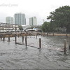 Just right next to our favorite place by the sea, the former Scotty's now Grove Bay Grill. The docks are almost completly submerged.