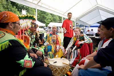 Thunder Boys Tribal group sing and play drum.  Left to right (?, Waxhne Dimalanta, Josh Richardson, ?, Cody Jacobs, Frank Lowey)