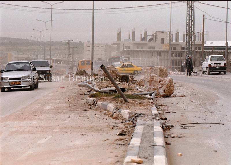 Utility poles were destroyed in the streets of Bethlehem by Israeli tanks during the first incursion.