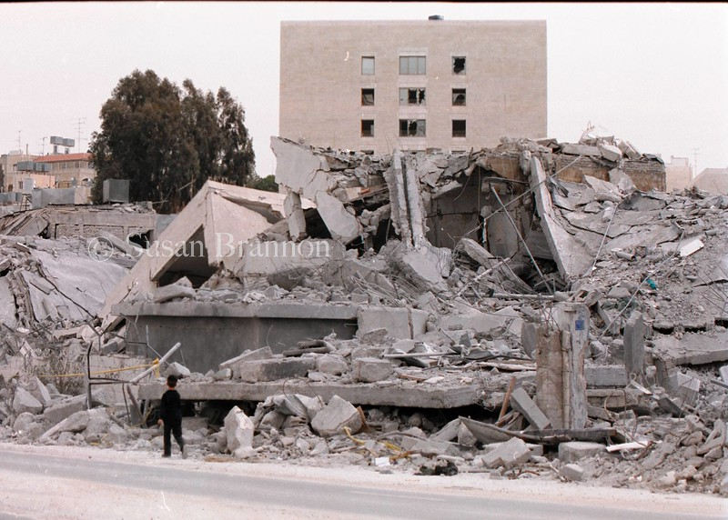 One of many destroyed homes on main street in Bethlehem after the first incursion by the Israeli soldiers.