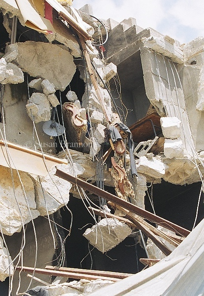A destroyed building in the refugee camp located in the center of Jenin during the 40 days closures.  This was taken during the closures, just after the destruction of the camp.