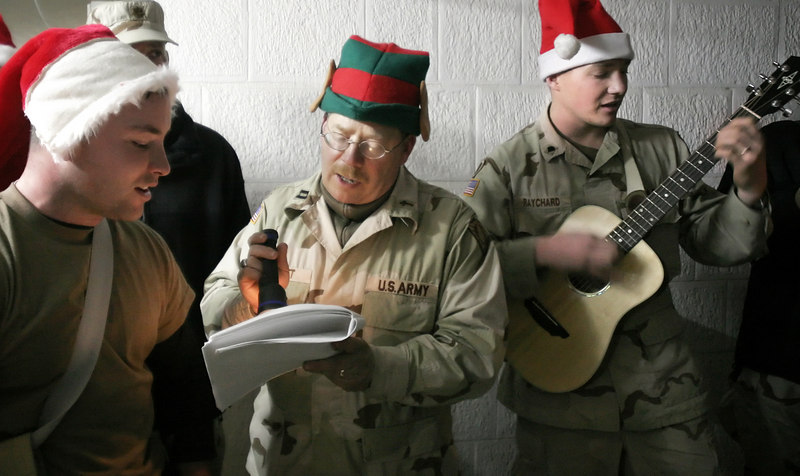 Caroling during Christmas Eve at Forward Operating Base Marez in Mosul.