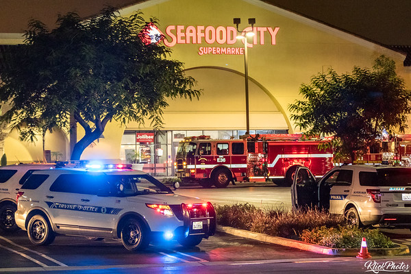 The scene as firefighters work to extinguish a two-alarm fire at the Seafood City Supermarket in Irvine early Friday morning.