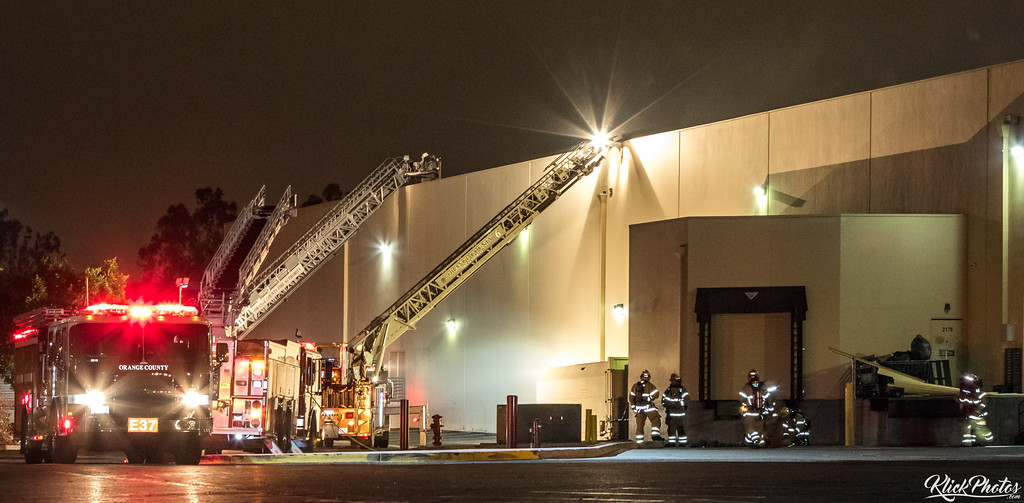 The scene as firefighters worked to extinguish a two-alarm fire at the Seafood City Supermarket in Irvine early Friday morning.
