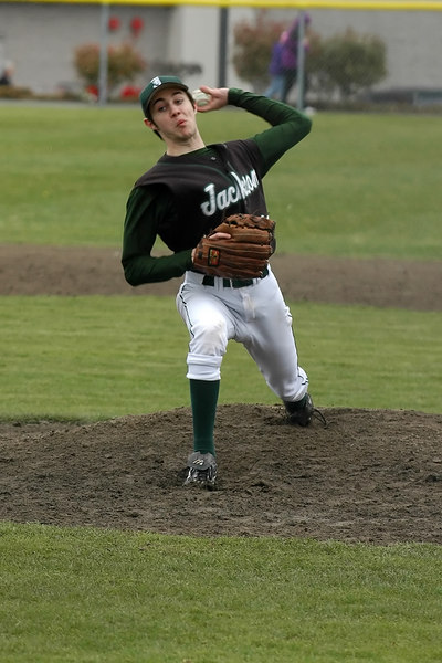 Jackon's left-hander Ryan Charwell bears down on the Cascade batters early in the game